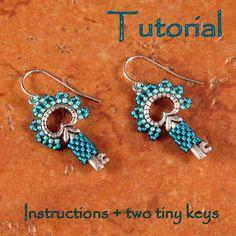 Tutorial and Two Tiny Keys - Classy Key Earrings