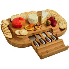 Picnic at Ascot Deluxe Malvern Bamboo Cheese Board with Stainless... ($78) ❤ liked on Polyvore featuring home, kitchen & dining, serveware, food, beige, stainless steel cheese knives, serving fork, picnic at ascot, bamboo forks and stainless steel cheese knife
