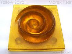 Art Glass Sculptures: Yellow Spiral. Kiln cast glass sculpture sale by atist.