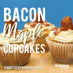 Love a little salty with your sweet? Try our Bacon-Maple Cupcakes, thanks to Barbara Frasier of Sand Mountain EC in the June issue! Easy Cupcake Recipes, Cupcake Flavors, Fun Baking Recipes, Cake Mix Recipes, Baking Desserts, Bacon Recipes, Dessert Recipes, Maple Bacon Cupcakes, Gourmet Cupcakes
