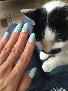 Wedding nail aqua blue flower nail pretty nails 3D nail by Aya1gou
