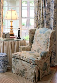 Update a wing back chair with a longer skirt. Cote de Texas blog