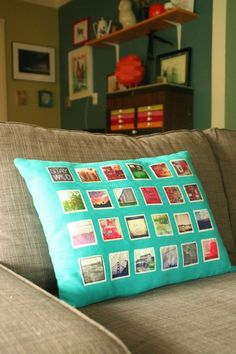 Take your guys favorite Instagram photos and turn them into a one-of-a-kind pillow with this tutorial from WeAllSew. #pillow #sewing