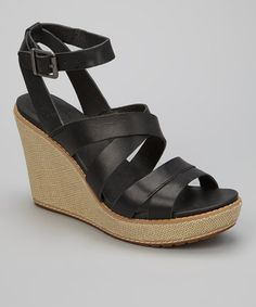 Take a look at this Black Danforth Wedge Sandal by Timberland on #zulily today!