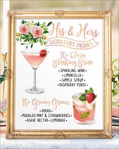 # Food and Drink menu signature cocktail Digital Printable Wedding Bar Menu Sign, His and Hers Signature Drinks Cocktails Signs, Watercolor Chalkboard Christmas New Year Wedding Reception Signs, Wedding Signage, Wedding Catering, Diy Wedding, Wedding Ideas, Wedding Flowers, Wedding Drink Menu, Wedding Foods, Catering Menu