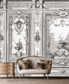 Decore com Gigi - Diy Interior Design Wallpaper Panels, Wall Wallpaper, Grisaille, Classic Interior, Rustic Elegance, Wall Treatments, Living Room Interior, Interiores Design, Interior Inspiration