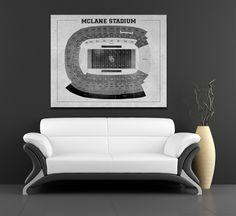Vintage style print of Baylor's McLane Stadium seating chart