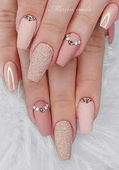 Nail Art Design Ideas With Pretty & Creative Details : Pink Peach Nails Square Nail Designs, Cute Nail Art Designs, French Nail Designs, Colorful Nail Designs, Beautiful Nail Designs, Acrylic Nail Designs, Acrylic Nails, Coffin Nails, Short Pink Nails