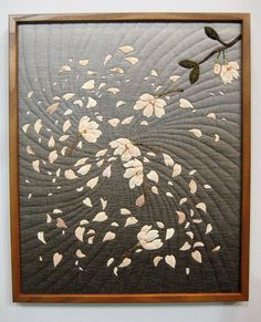 Framed quilt, dogwood or magnolia, Tokyo International Quilt Festival 2012 Quilt Stitching, Applique Quilts, Quilting Projects, Quilting Designs, Asian Quilts, Quilt Modernen, Flower Quilts, Landscape Quilts, Quilt Festival