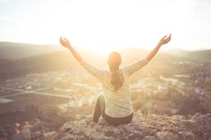 Carefree Happy Woman Sitting On Top Of Mountain Edge Cliff Enjoying Sun On Her Face Raising Hands In Sunlight Rays. Enjoying Natur Stock Photo - Image of happiness, breathe: 66973352 University Courses Online, Dry Tree, Happy Images, Landscaping Images, Sit On Top, Happy Women, Portfolio, Beautiful Landscapes, Life Is Good