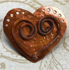 Hand Forged Rustic Copper Heart Pendant Component by SunStones, $16.00