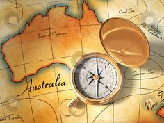 Map of Australia and Compass