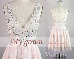 New Short Prom DressStraps Crystal Lace Homecoming by MyGown, $119.90