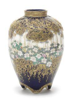 A Satsuma ovoid vase  By Kinkozan, Meiji era (1868-1912) (2)