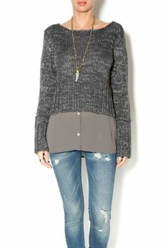 Layered grey/silver sweater with no collar and no bulk. it will go with any kind of bottoms and is great for cold weather.   Faux-layered Sweater by Uldahl. Clothing - Tops - Long Sleeve Clothing - Sweaters - Crew & Scoop Neck Washington