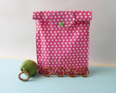 Pink Oilcloth bag, Waterproof oilcloth bag, Food Storage Bag, School lunch bag, reuseable baggie. by shiraproducts on Etsy