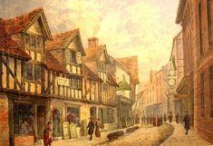 Site Of Present Art Gallery, Lichfield Street by Unknown Artist. Wolverhampton, Art Gallery, History, Street, Artist, Museums, Painting, Galleries, Wave