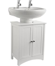 Buy Tongue and Groove Under Sink Storage Unit - White at Argos.co.uk  sc 1 st  Pinterest & Details about Under Sink Cabinet White Bathroom Unit Wooden Storage ...