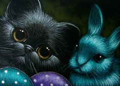 """""""Black Kitten with Easter Rabbit and Eggs"""" par Cyra R. Cute Bunny, Cute Cats, Black Cat Art, Black Cats, Easter Paintings, Chalk Pastel Art, Cute Animal Drawings, Drawing Animals, Cat Sketch"""
