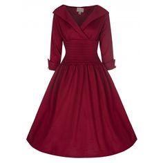 'Ramona' Subtly Seductive 50's Style Swing Full Skirt Dress In Claret | Lindy Bop
