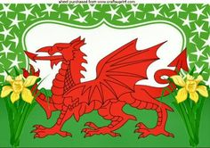 Our St David's Day designs typically feature daffodils and the red dragon emblazoned on the Welsh flag. We have cards in both the English an. Water Dragon, Fire Dragon, Saint David's Day, Mythical Dragons, Dragon Cross Stitch, Welsh Dragon, Saints Days, Patron Saints, Pictures To Draw