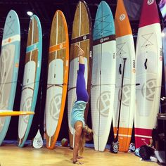 BOGA Yoga Paddleboards- and the whole quiver of options from surf to race and everything in between at the #surfexpo with #rachelbrathen #BOGAsup
