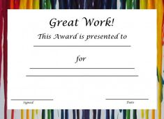 Free Printable Award Certificates For Kids                                                                                                                                                                                 More