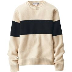 UNIQLO Women Idlf Wide-Lined Crew Neck Sweater ($50) ❤ liked on Polyvore featuring tops, sweaters, textured sweater, pink sweater, pink crew neck sweater, line sweaters and uniqlo sweaters