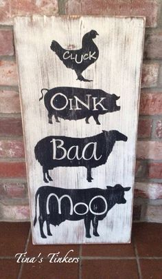 Vintage Farmhouse Animals Sign