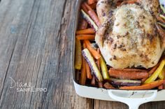 Garlic and ghee roasted chicken with carrots