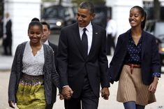 Malia Obama, Sasha Obama Show Off Their Pre-Teen Style At Church With Their Dad
