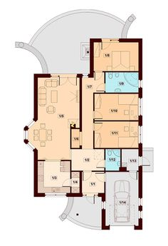 Projekat moderne prizemne kuće s garažom – Verona 2 Bedroom House Plans, My House Plans, Beautiful House Plans, Beautiful Homes, Verona, Duplex Plans, Villa Plan, House Design Pictures, Bungalow House Design