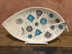 Ceramic platter. Clay fish platter. Mishima and sgraffito by Polly Ireland, Natchez Mississippi