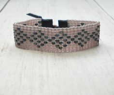Items similar to Bead Bracelet - Mauve Bead Bracelet - Adjustable Bracelet - Geometric Bracelet - Purple Bracelet - Bead Woven Bracelet on Etsy Woven Bracelets, Fashion Bracelets, Fashion Jewelry, Bohemian Style Jewelry, Beaded Jewelry, Unique Jewelry, Adjustable Bracelet, Bead Weaving, Bracelet Making