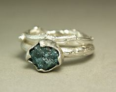 Natural Rough Blue Diamond Twig Ring Hand by TazziesCustomJewelry