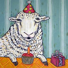 Sheep Birthday animal art tile coaster. 4.25 x 4.25 inch Decorative ceramic art tile listed and individually made by the artist Four cork dots on the back of the tile protect counters/tables High quality and very durable Pictures are to show what the tile looks like but with the image for this listing . 2nd photo in product pictures is a sample picture showing what the product will look like but with the image for this listing.