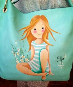 Silfo bolso Fabric Painting, Diy Painting, Painted Bags, Hand Painted, Doll Drawing, Cute Dolls, Art Studios, Coloring Books, Cartoon