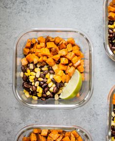 These southwest sweet potato vegan meal prep bowls are a healthy and efficient meal prep idea. You can have 4 delicious meals ready in under 45 minutes!