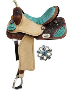 """14"""", 15"""", 16"""" Double T Barrel Style Saddle with Teal Alligator Print Accents. This saddle features tooled medium leather skirts with dark burned style accent color. Teal alligator inlay on skirt corne"""