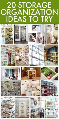 20 storage organization ideas. Especially love the labeled plastic bins and cleaning closet!!