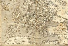 A Map of Europe from 1570 showing Hy-Brasil at another location (look beside the foot of the animal 'Europa' is riding) New World Map, Old World, Wine Folly, Unexplained Phenomena, Unexplained Mysteries, Medieval World, United States Map, Vitis Vinifera, Old Maps