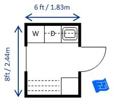 Mid size 6 x 8ft (1.83 x 2.44m) laundry room sized for European appliances. Lots of storage and big drying rack. Click through to the website for more commentary on this laundry room floor plan and more laundry design.