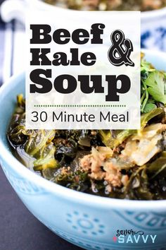 Make this one pot 30 minute Beef and Kale Soup for those cold fall and winter nights. WW 7 Points, Keto, Paleo, Whole 30, Gluten Free