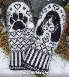 Knitting Patterns Mittens Ravelry: Cocker Spaniel Mittens pattern by Connie H Design Knitted Mittens Pattern, Crochet Mittens, Knitted Gloves, Knitting Socks, Free Knitting, Knit Crochet, Knitting Patterns, Crochet Hats, Fingerless Mittens