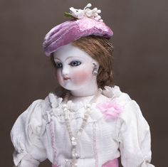 "11"" (28 cm) Antique French bisque head small fashion doll in original from respectfulbear on Ruby Lane"