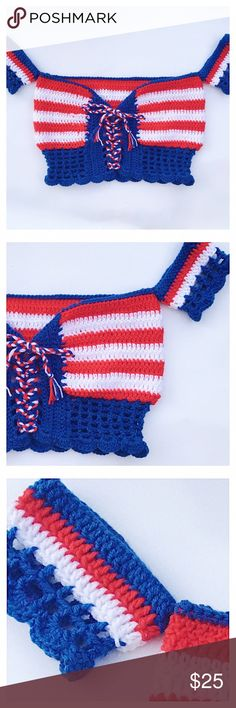 4th of July over the shoulder top •hand crocheted with 100% acrylic yarn  • perfect for sunny weather ☀️  • can be worn with the lace detail in the back or front  • Perfect for 4th of July  • check out size chart and allow 5-10 business days for any order to ship   ( cheaper on my website due to poshmark fees  http://angelicthreads.tictail.com link is also in the bio)   10%off first order through my website : FIRST1 Tops