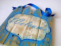 Sky Blue Welcome Sign Upcycled Wooden Sign by DuTillandDaughters on etsy.