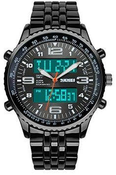 Black Strap Noctilucent Strong Case Analog Digital Mens Watches >>> Click image for more details.Note:It is affiliate link to Amazon.