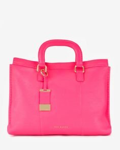 Leather stab stitch bag - Mid Pink   Bags   Ted Baker