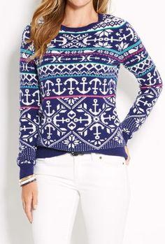 anchor & snowflake sweater.  vineyard vines.